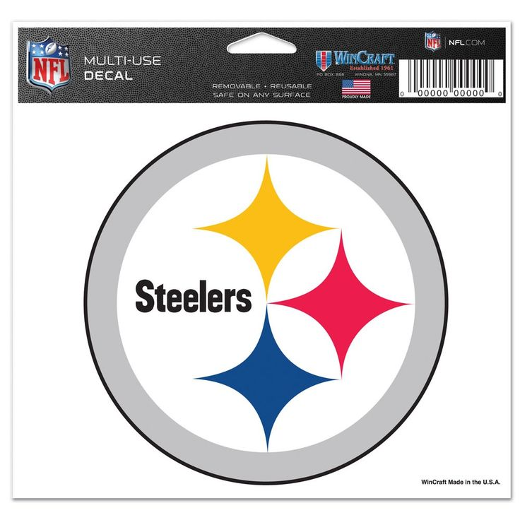 """Image of Pittsburgh Steelers NFL 4.5"""" x 6"""" Car Window Cling Decal Pitt Wincraft 411426"""