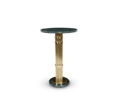 Inspired in the fundamentals of midcentury modern design, Janis Bar Table is the perfect touch for a stylish NYC lounge bar. With a beautiful marble top and base, and a golden eye-catching support, Janis bar table is the perfect detail on a vintage cocktail party.