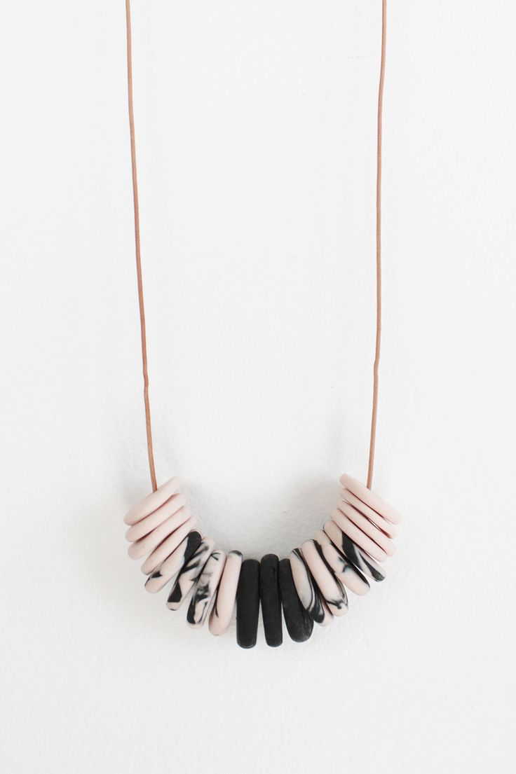 Pink & Black Marbled Clay Bead Necklace / TRESS