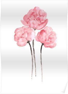 Affiche de dessin de peinture aquarelle de fleur de bouquet de pivoines roses   – 2019 Aquarela