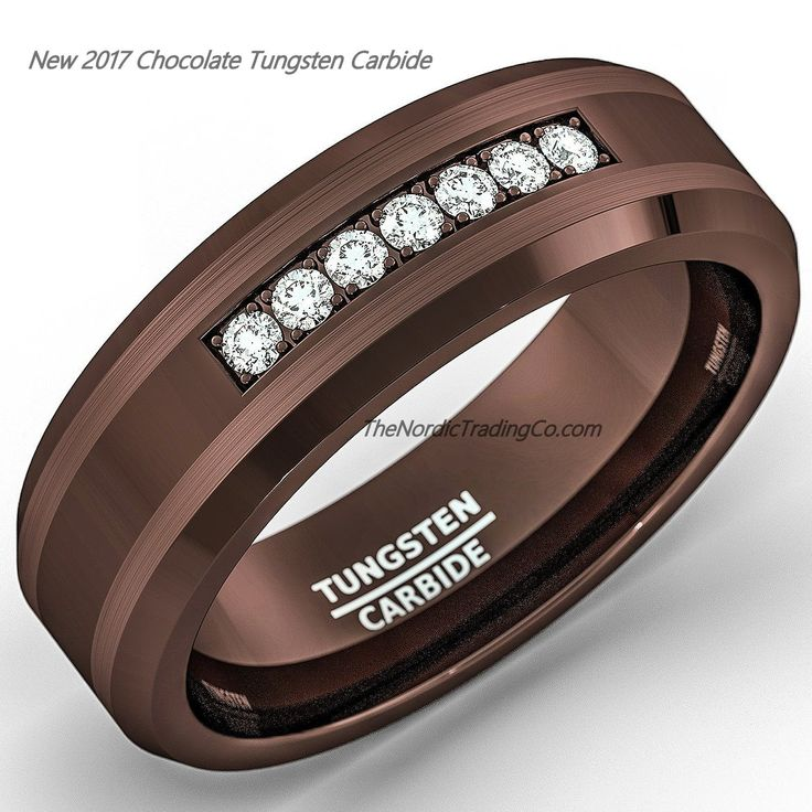 Chocolate Brown Tungsten Carbide Men's Wedding Band Engagement Ring Groom Jewelry Gifts for Men Anniversary Birthday