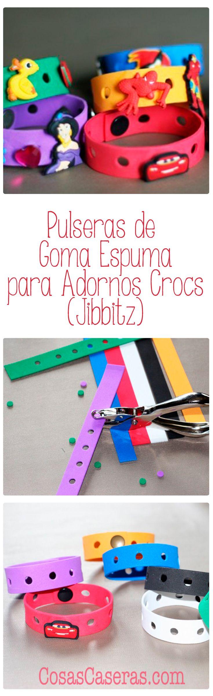 Como hacer unas pulseras de goma espuma para usar con los adornos para crocs, también conocidos como Jibbitz.  Estas pulseras serían perfectas para regalarles a los niños en una fiesta con unos adornos para sus zapatos.