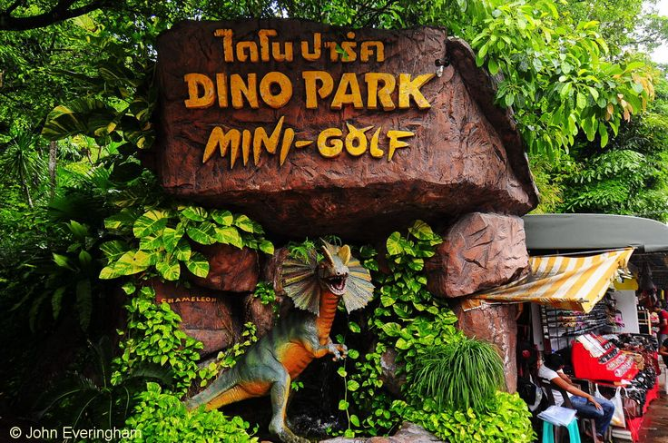 Karon Beach, Phuket, Thailand. This one attraction at South Karon, with mini-golf and restaurant in a lush Jurrasic forest setting, is a real favourite with children from everywhere.