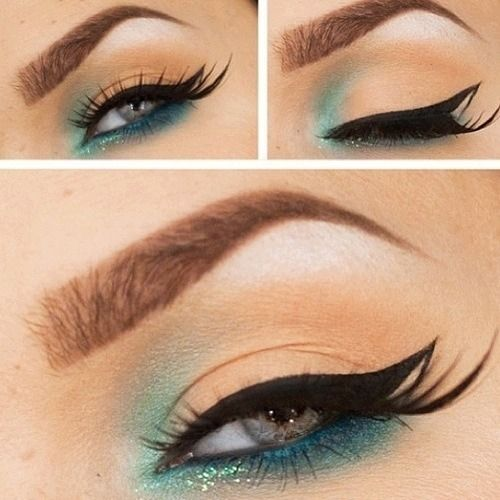 Turquoise and Pale Peach Eye Makeup with Fancy Winged Liner