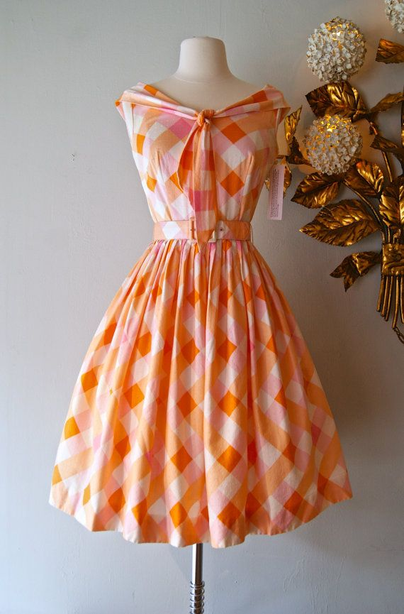 Vintage 1950s Orange and Pink Dress