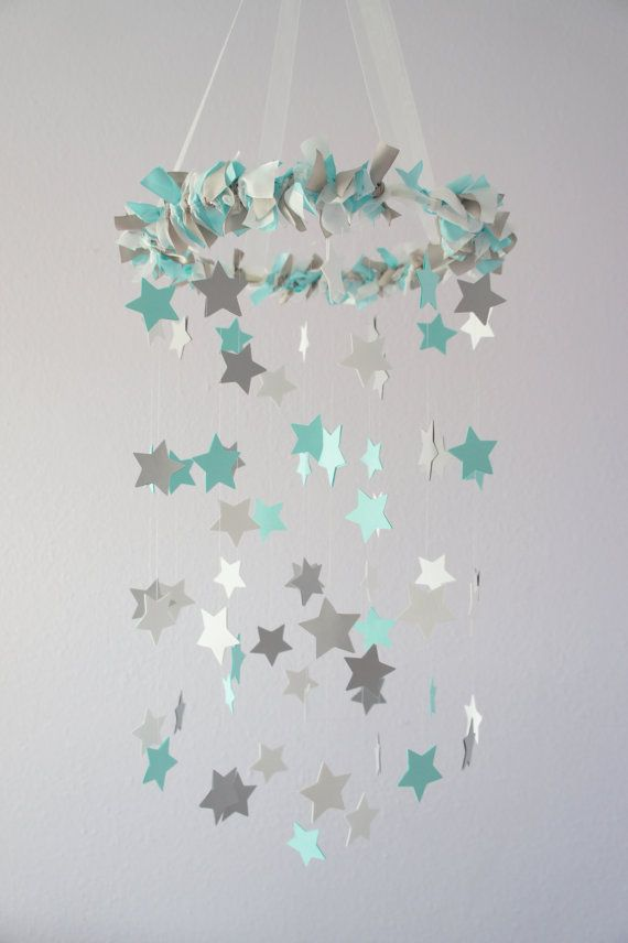 Aqua Gray Nursery Star Mobile- Baby Nursery Decor, Baby Shower Gift