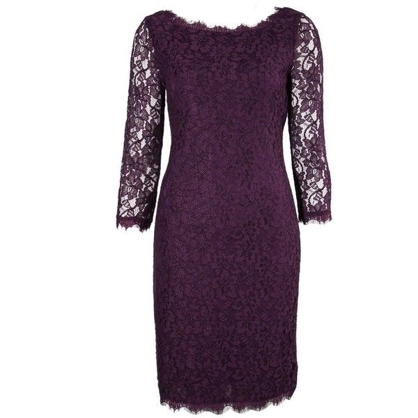 Pre-owned Diane Von Furstenberg Lace Dress ($300) ❤ liked on Polyvore featuring dresses, purple, purple dress, lace dress, purple lace dresses, back zipper dress and zip back dress
