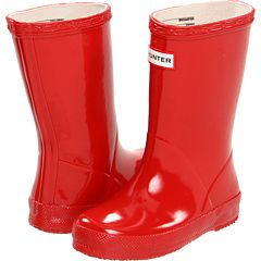 Red hunter boots, sizes too large~next year.