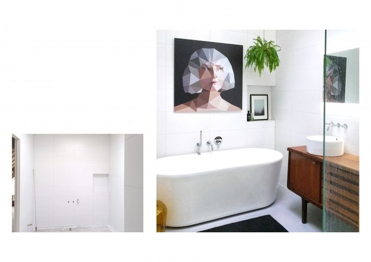 badkamer - Een hoge grote lege ruimte met lichtkoepel, verbouwd tot ruime lichte badkamer. Een vintage jaren 60-meubel gebruikt als dubbele wastafelmeubel. De foto is genomen vanuit de inloopdouche. Helaas vergeten om eerst de glazen wand te poetsen...