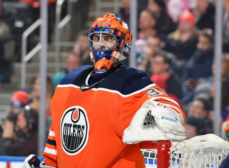 Edmonton Ab March 14 Al Montoya 35 Of The Edmonton Oilers Stands In Net During The Game Against The San Jose Shar Oilers Edmonton Oilers Vancouver Canucks