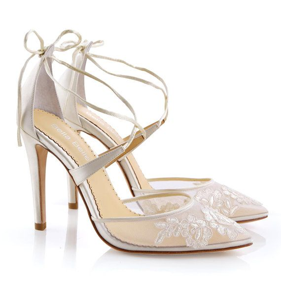 Alencon Spitze Elfenbein Hochzeit Schuhe High von BellaBelleShoe