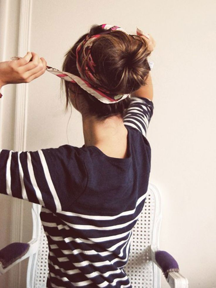 If time is of the essence, this hairstyle is your ace in the hole. (You feel us, Michelle Wie?) Start by making a sock bun, preferably up by the crown of your head if it's extra-hot outside. (Here's a quick sock-bun tutorial, or you can make things even easier with the Conair Hair Bun Maker, $4.) Tie a scarf that's at least three feet long around your head—pretend it's an Hermes for the glam effect —and you're ready to go in minutes flat.