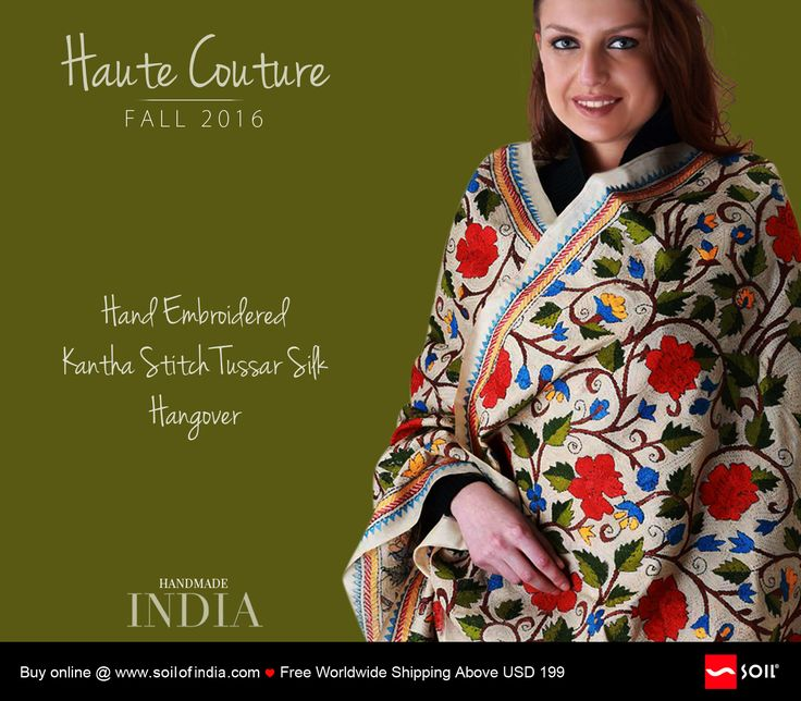 Hand Embroidered Kantha Stitch, Tussar Silk Hangover. Toss it across your back and let it hangover your shoulders. Just fun draping it any which ways, on casuals or formals. Be who you are...cool, chic and haute. Hand stitched in pure tussar silk, made piece by individual piece, so no other, can be like you. http://soilofindia.com/hand-embroidered-kantha-stitch-tussar-silk-hangover.html