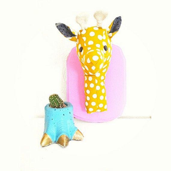 CUSTOM giraffe plush wall mount,  whimsical nursery decor, faux taxidermy, made to order