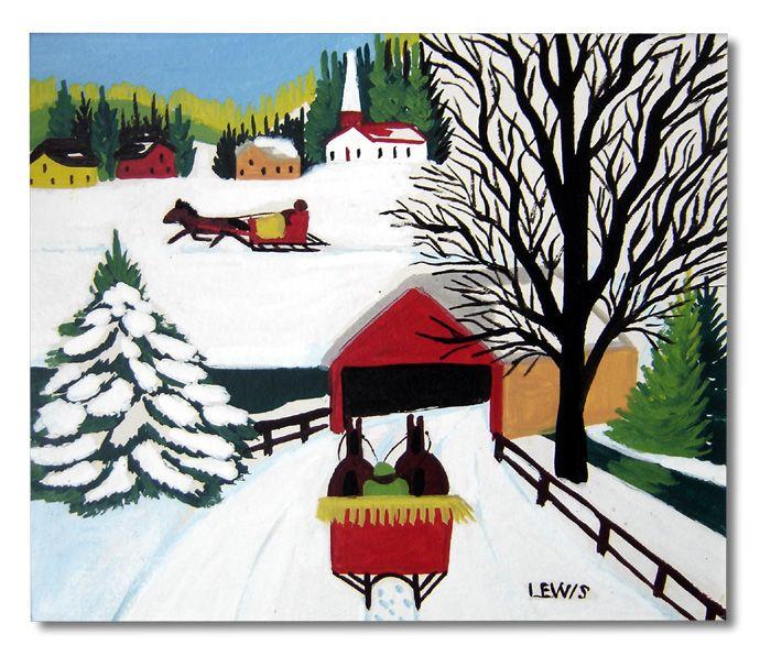 """Maud Lewis """"Red Covered Bridge"""" c. 1960."""