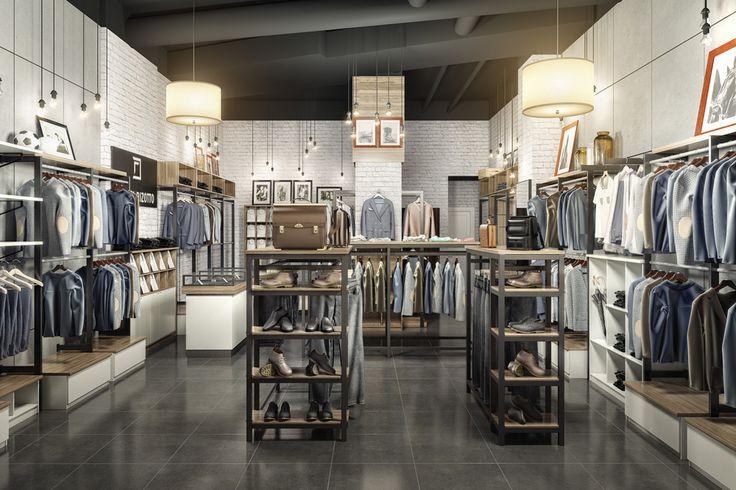Дизайн интерьера магазина мужской одежды «DANIEL RIZOTTO» в ТРК «Меганом». Дизайн-студия ROMM. Симферополь || Разработка сайтов, веб дизайн, Графический дизайн, 3D визуализация, Дизайн интерьера, Дизайн среды