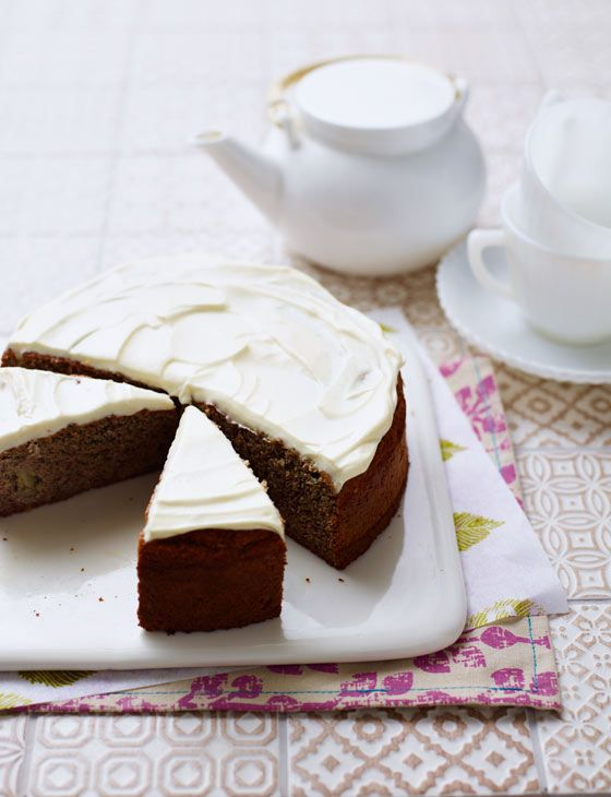 Banana and almond cake with cream cheese icing. A gluten free bake by the Hemsley sisters.
