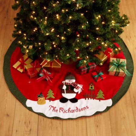 Personalized Snow Cap Christmas Tree Skirt, Multicolor