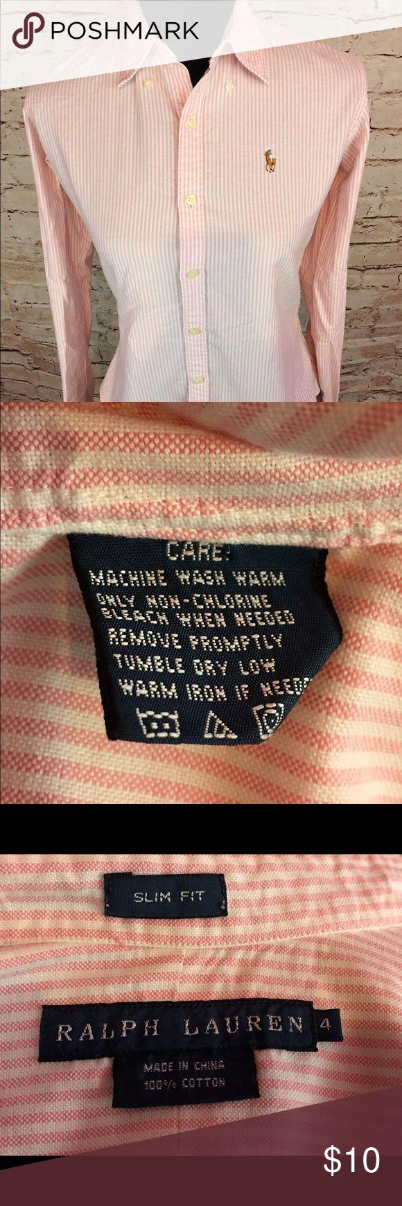 Ralph Lauren Women's Oxford ButtonDown shirt size4 Ralph Lauren  Slim Fit Size 4 Pink /White Ralph Lauren Tops Button Down Shirts