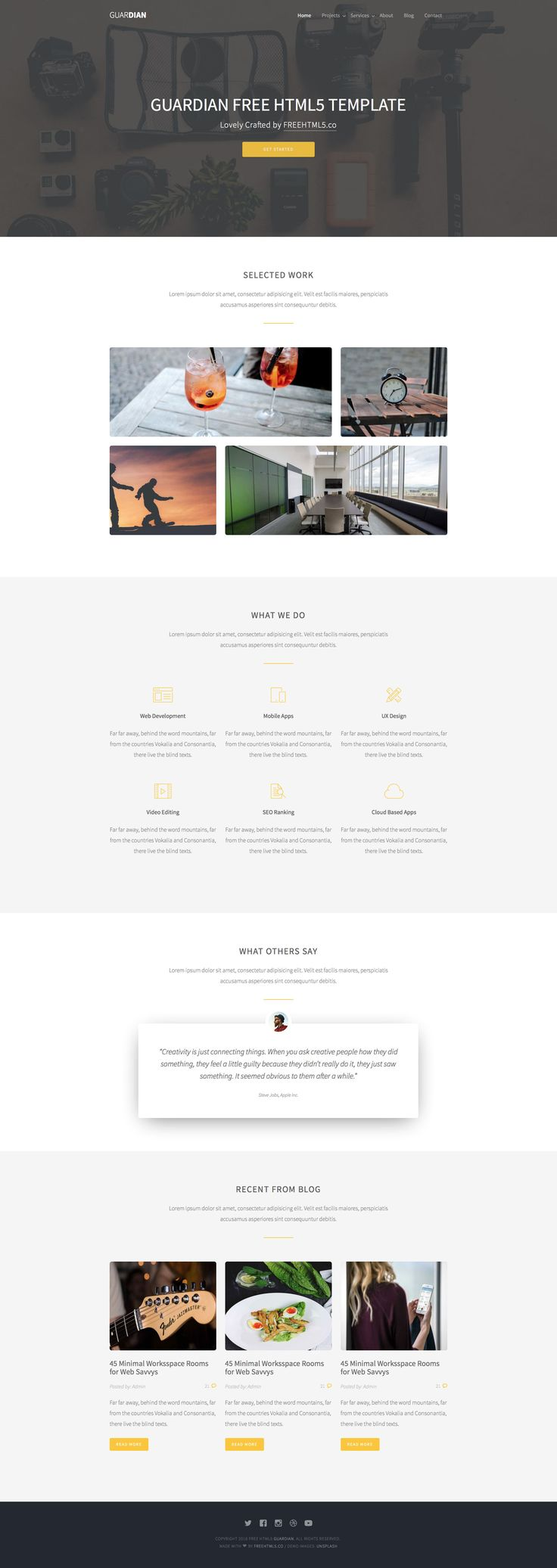 Guardian is a free responsive HTML5 Bootstrap multipurpose website template for business, corporate or agency websites. This template is fully responsive, retina ready and built on the popular Bootstrap 3 framework.