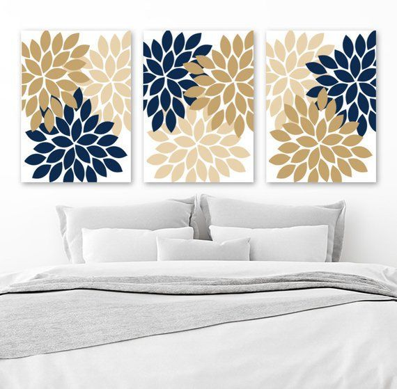 Flower Wall Art Navy Tan Beige Bedroom Wall Decor Floral Canvas Or Prints Tan Navy Bathroom Decor Flower Pet Room Wall Colors Wall Decor Bedroom Home Decor