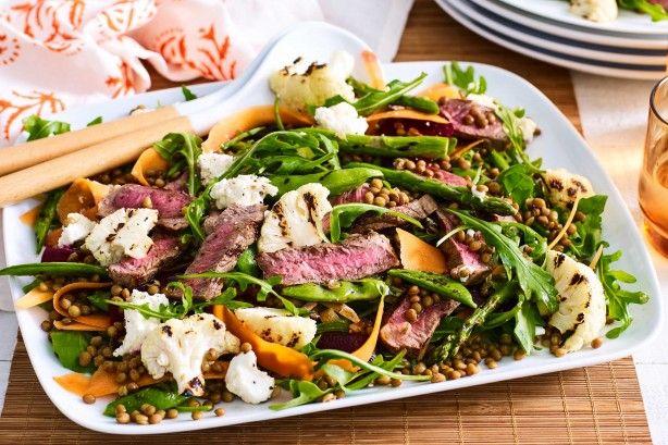 Chargrilled spring lamb salad