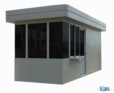 Guard Building, Custom Assembled, Width 90 inches, Length 228 inches, Height 118 inches, Walls - R10 / Ceiling R19 Insulation, 1 1/2 inches. Solid Insulated Subfloor With Aluminum Treadplate Flooring, Lights Fluorescent, Surface Mounted, Includes Single Color Paint - White, (2) Perimeter Sliding Doors, (1) Steel Counter, Standard Electrical Package Pre-wired to Circuit Breaker Box and Pre-Plumbed ADA Restroom