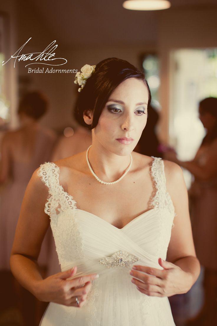 Custom made pearl brooch and veil for Rose Unique Bridal Adornments by Amahle