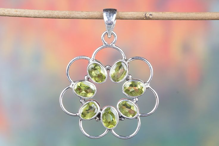 Gorgeous Faceted Peridot Gemstone Pendant Handcrafted with Glimmering 925 sterling silver.This Adorable Pendantwill become your favorite go-to accessories to add a little sparkle to any outfit! .It is great for casual wear or for dressing up, this will make good sense in yourPersonality.It's all in how you choose to wear it!    Description  •Handmade item  •Material: sterling silver  •Stone:Faceted Peridot  • Ships worldwide from India    All Custom Sizes are Available.  Authentic Pure…
