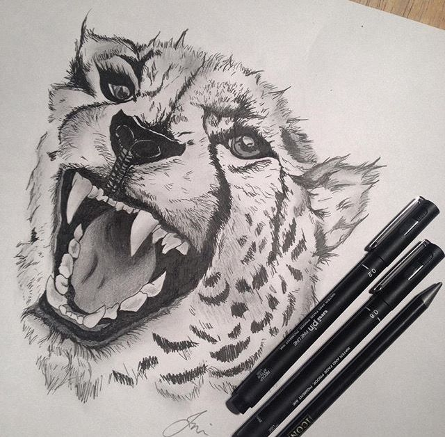 Drawn with waterproof fineliner pens #tattoo #cheetah #drawing #penwork #dotwork #fineliners #art #animals #sketch