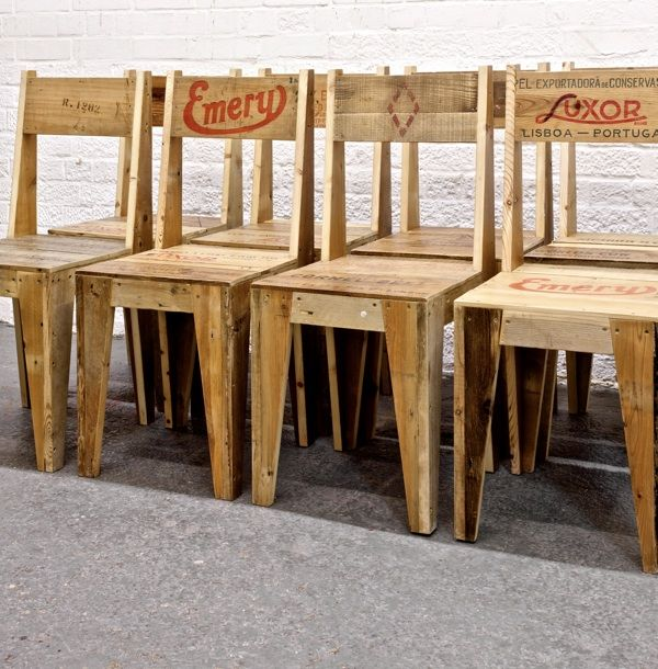 Rupert Blanchard repurposed old wood crates to create these one of a kind wood chairs...