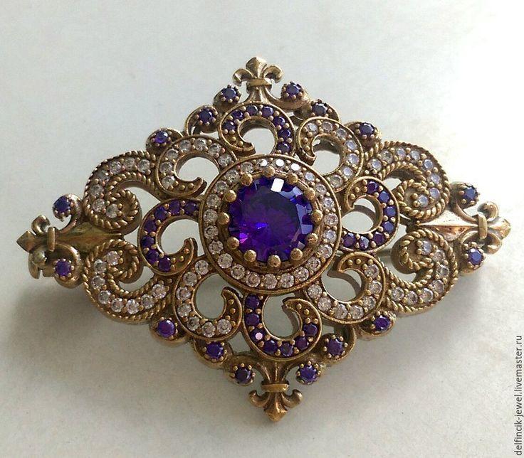Купить Брошь из серебра в османском стиле с аметистами - фиолетовый, брошь с камнями, брошь с аметистом