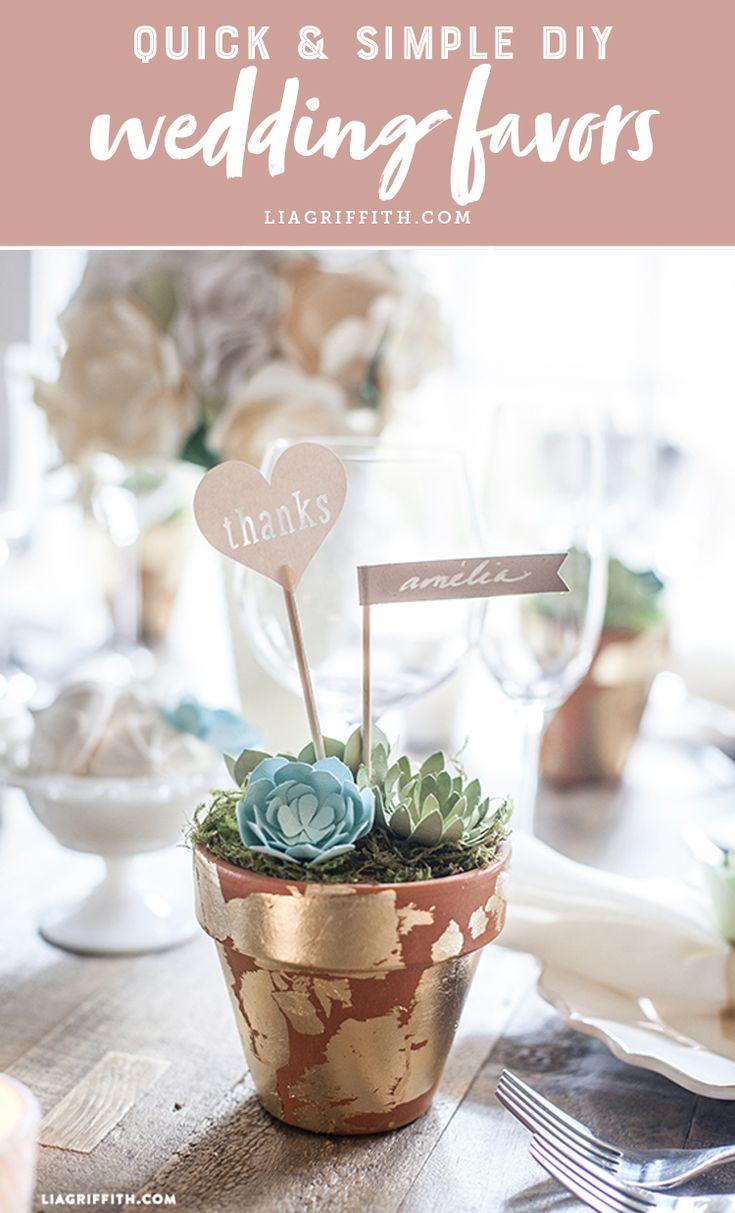 Find quick and simple DIY wedding favors! www.LiaGriffith.com #diywedding #weddingdiy #diyweddingfavors #weddingfavors #weddingfavours #cricutmade #papercraft