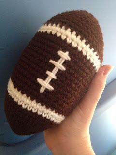 Football Amigurumi  I'm in a fantasy football league with my husband and his cousins. I actually won last year! The previous winner mailed me our trophy (it was a ceramic pig for some reason) but he didn't pack it well and it pretty much shattered in a million pieces. Of course my first thought was to make my own trophy! We all live in different parts of the country (California Arizona Indiana and New York) so having to send the trophy in the mail is something that will almost definitely…