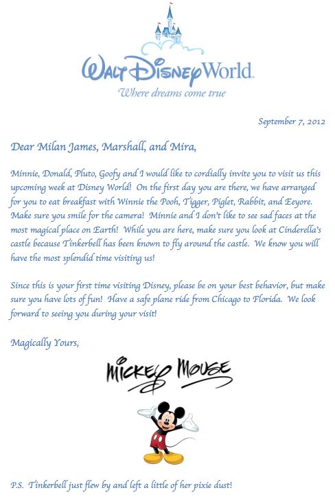 Letter from Mickey Mouse for the kids!  Great idea to get them ready for their upcoming trip!