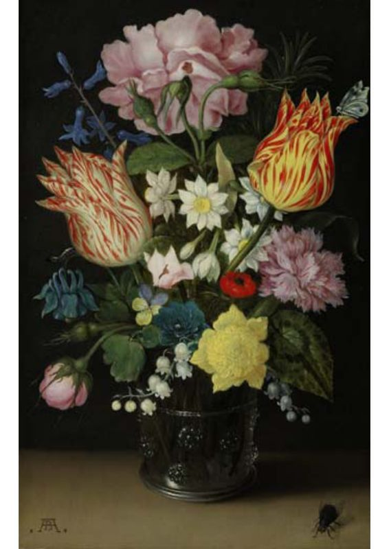 "Ambrosius Bosschaert the Elder, ""Still Life with Tulips, Roses, Narcissi and other Flowers in a Glass Beaker""."