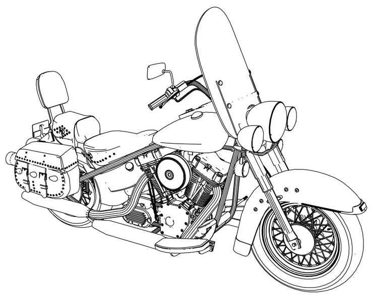 nice Harley Fatboy Motorcycle Coloring Page Classic