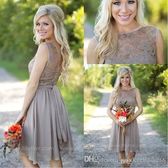 Buy wholesale country bridesmaid dresses,designer bridesmaid dresses along with discount bridesmaid dresses on DHgate.com and the particular good one-2016 tan new country style bridesmaid dresses jewel sheer a line knee length summer beach mini cocktail short maid of honor party gowns is recommended by cinderelladress at a discount.
