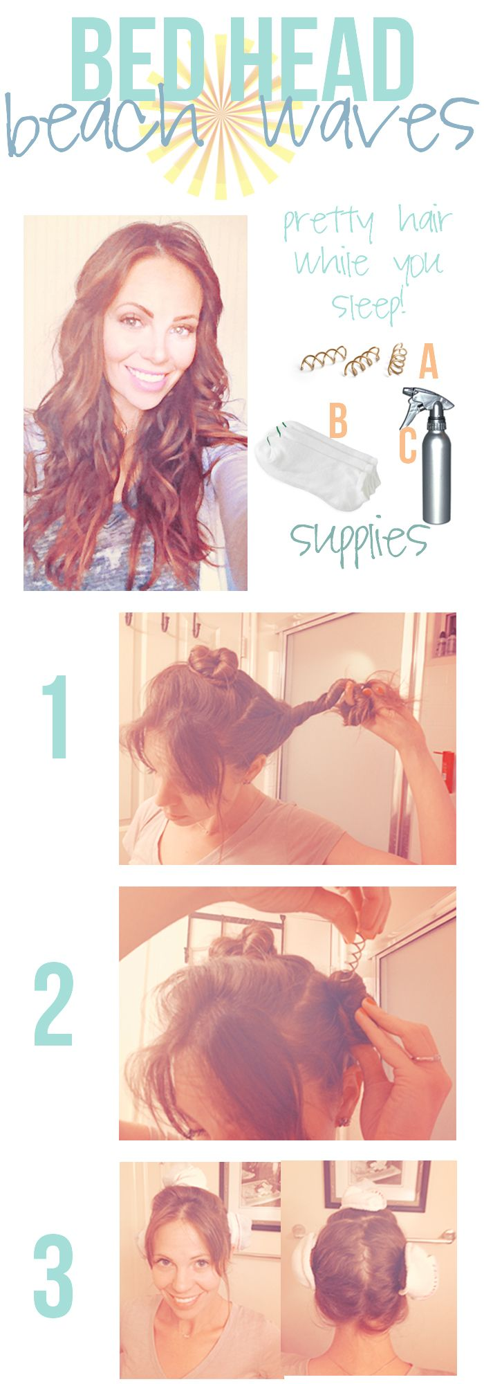 Sleep-On-It Beach Waves: Dampen Hair With Sea Spray; Separate Hair Into 3 Sections & Roll Each Section Away From Face Into Bun; Secure Each Bun By Spinning In A Spin Pin (No Clamp & Keeps Away Kinks); Cover Buns With Sock Toes (Keeps Frizz From Attacking) & Go To Sleep; When You Wake Remove Pins & Tousle Hair; Add Hair Spritz If You Want