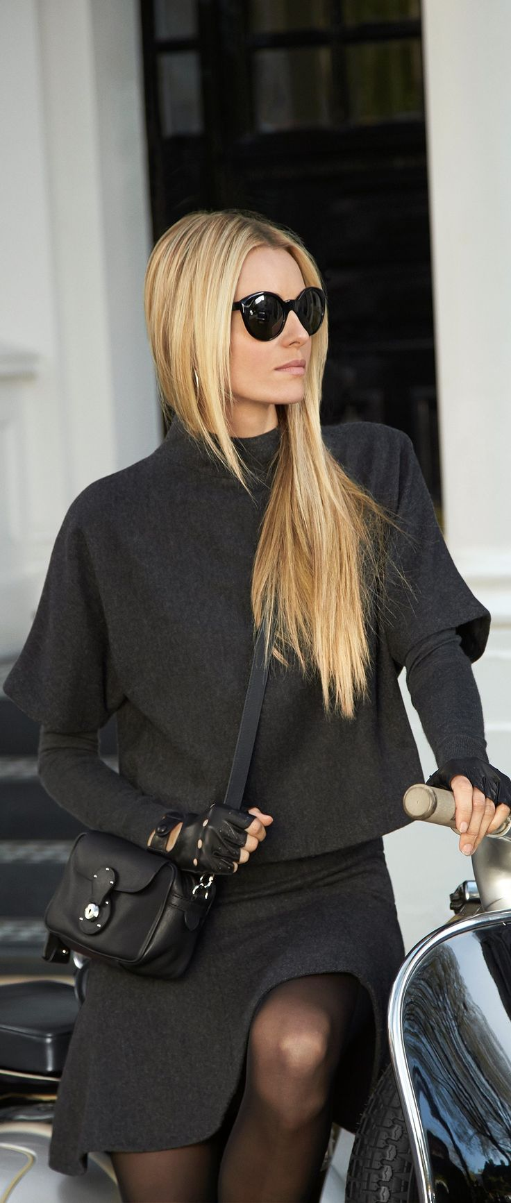 The Ralph Lauren Black Label Wool Hammond Top: this chic herringbone top is designed with a stand collar and oversized short dolman sleeves.