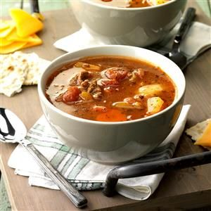 Beef Vegetable Soup Recipe -This nicely seasoned soup tastes so good. It's convenient, too, since it simmers all day in the slow cooker. —Jean Hutzell of Dubuque, Iowa