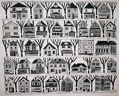 Linocut buildings -- you could have each person do their own lino - same size, same theme, to repeat like this.