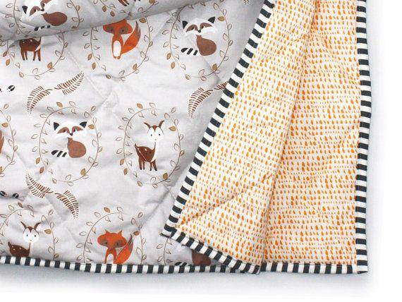 WOODLAND bébé couverture-sexe neutre literie-woodland crèche literie-renard chevreuil bébé couette gris-couverture de lit de bébé-cadeau de shower de bébé