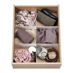 """I need these. you cut them to fit and it's only $1.99 fir a set of 3... HÖFTA Divider for drawer - 21 ¾x4 """" - IKEA"""