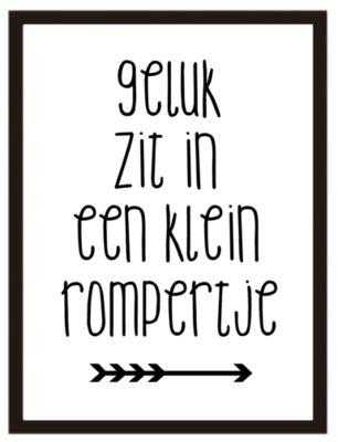 Poster: Geluk zit in een klein rompertje
