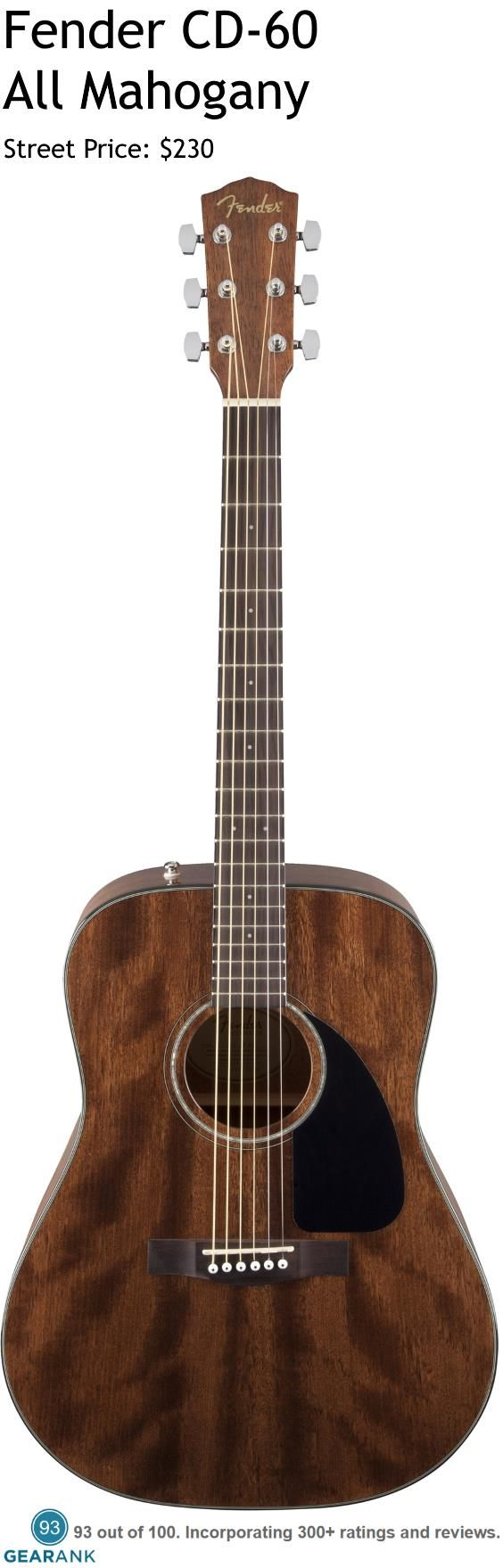 Fender CD-60 All Mahogany Acoustic Guitar. This is one of the highest rated acoustic guitars you can buy for under $300.  For a detailed Guide to Acoustic Guitars see https://www.gearank.com/guides/acoustic-guitars