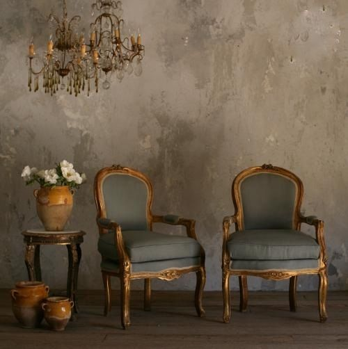 Vintage chairs with gorgeous french blue upholstery............love everything about this picture. WALLS THE MOST!!