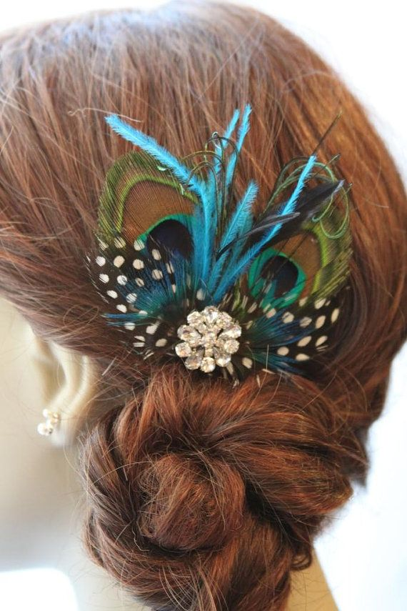 I have a thing for hair accessories and peacock feathers.