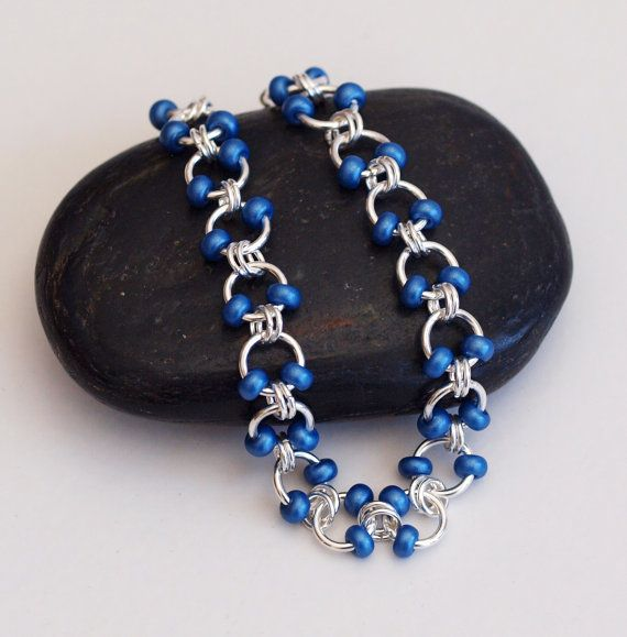 SALE Metallic Blue Beaded Chainmaille Bracelet by PJsPrettys