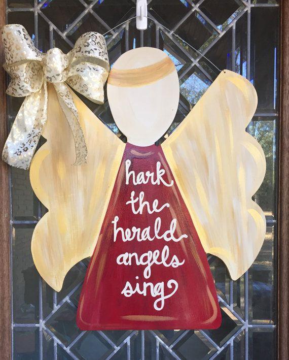 Christmas angel door sign Christmas door hanger Angel door